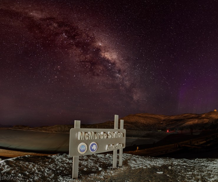 May 4th 2016 This was a tough shot for me as the sign is in McMurdo station and town lights are all around accept directly in front which helped. This is a mosiac panoramic as well from 20 exposures.
