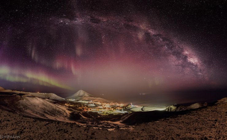 June 7 2016 this is a HDR mosiac panoramic. 39 exposures taken to pull this off. This over looks McMurdo Station with Auroras. In the distance Pegasus and Phoenix airfiels lights are visible.