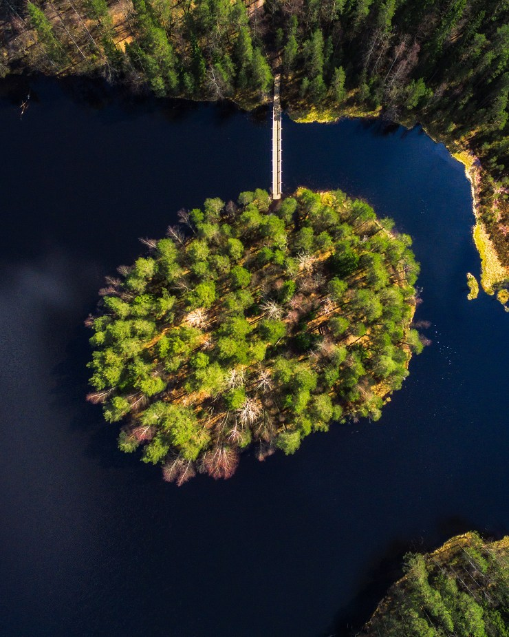 Finland Drone Island in Lake by Michael Matti