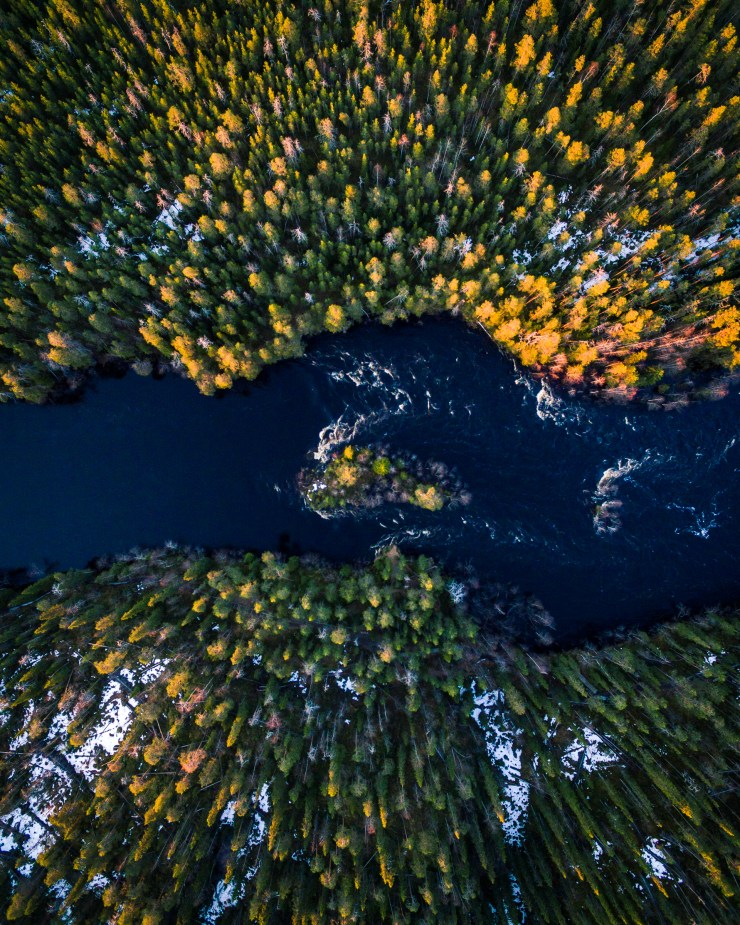 Finland Drone over Forest and River by Michael Matti