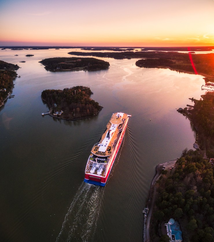 Finland - Turku - Drone over ferry by michael matti