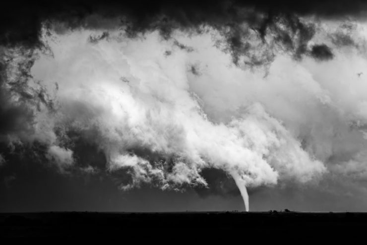 A beautiful, elephant trunk tornado touches down near Connorville, Oklahoma on May 9th, 2016