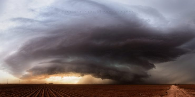 A gorgeous supercell hovers over the farmlands near Ackerly, Texas