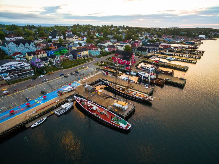UNESCO World Heritage Site, Old Town Lunenburg. All the buildings and even boats were so vibrantly uniform; it felt like a fictitious town. There was no other way to capture the beauty other than by drone. I've spent four years flying drones and to capture the best photos, I always recommend keeping the drone at a height between 30-70 metres. It was amazing watching the sunrise reflect off the waterfront.