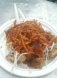 It is an Indian food that so called rojak too. It consists of shredded cucumber, potatoes, beancurd, turnip, tofu and somemore. Customer can choose up to 5 kinds of snack.
