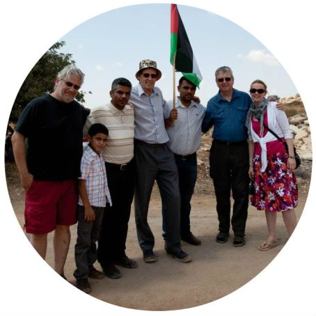 Cat Smith and others in Palestinian village, Bi'lin