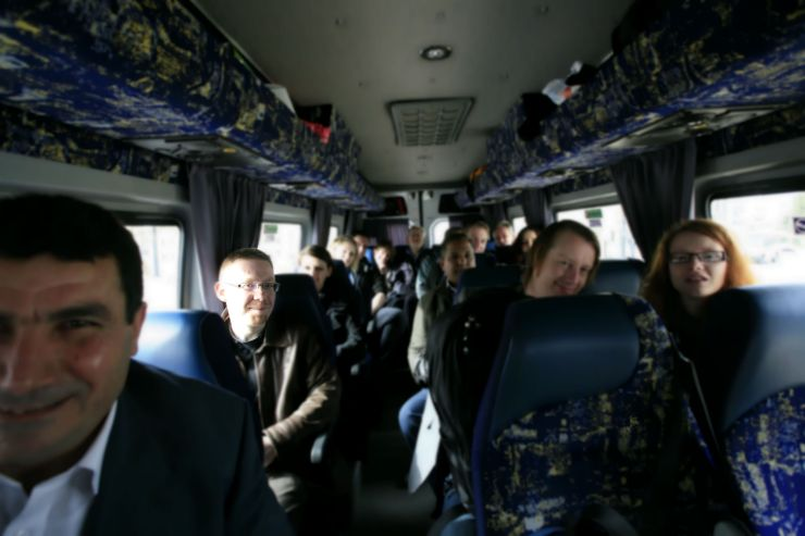 Richard Green with group on bus