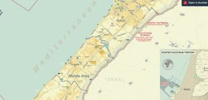 A picture of a map of Gaza
