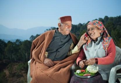 People of Himachal Pradesh: Senior couple using mobile phone