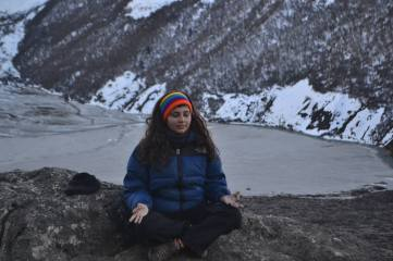 Behind me is Gosai Kunda which is an freshwater lake located in Langtang National Park.It is located at an altitude of 4,380 m (14,370 ft) in the Rasuwa District.