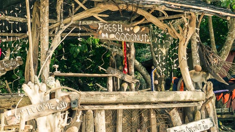 Coconut stand on Pangkor, Malaysia. Is Malaysia expensive?