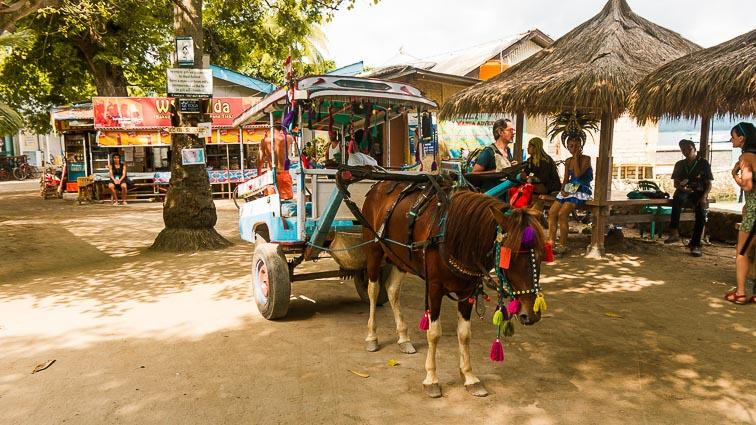 Gili Islands. Gili Trawangan, Gili Meno, Gili Air. Horse Carriage