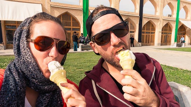 Iran Backpacking. Saffron ice cream in Esfahan, Iran