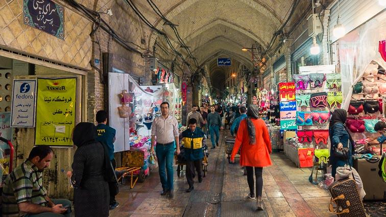 Appropriate clothing in Iran. What to wear in Iran. Walking on the Bazaar in Tehran