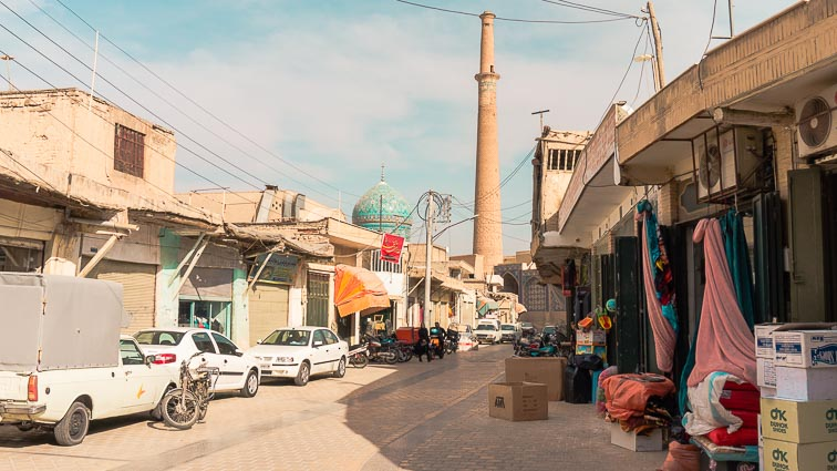 Typical street in Esfahan, Iran. How expensive is Iran to Travel? Cost of travel in Iran.