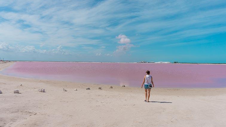 Kirsten at the pink lake, Las Coloradas, Mexico