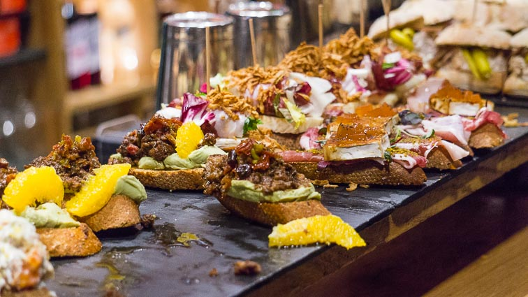Pintxos in San Sebastián. Go on a food tour on your city break in Spain