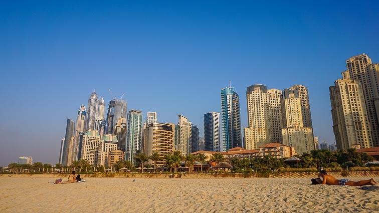 The skyline on Marina Beach