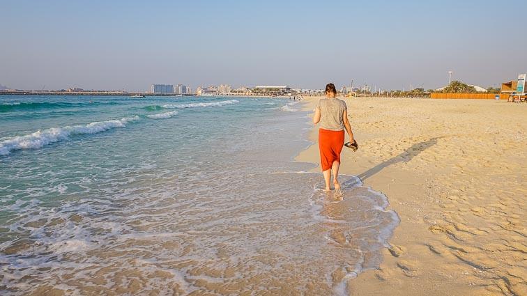 Kirsten on Marina Beach in Dubai