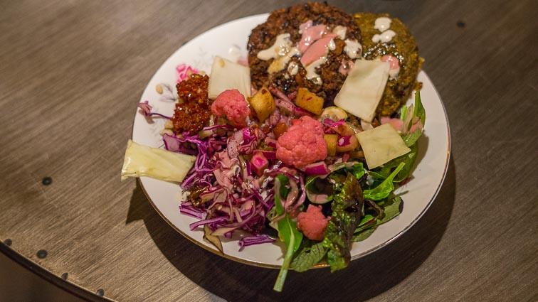 Veggie burger dish at Batin vegan restaurant