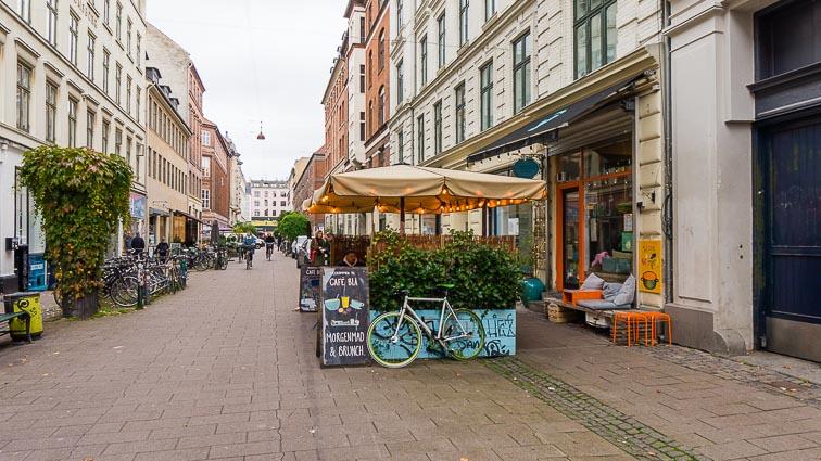 Cafe Blå's terrace, in the Nørrebro district, Copenhagen