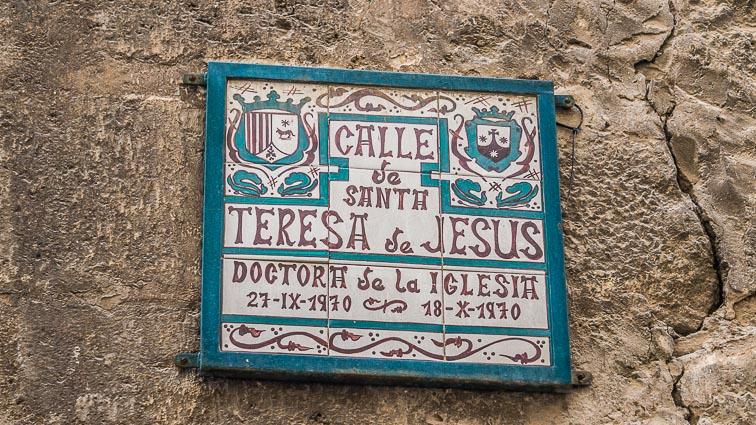 Street sign in Teruel. Calle de Santh Teresa de Jesus