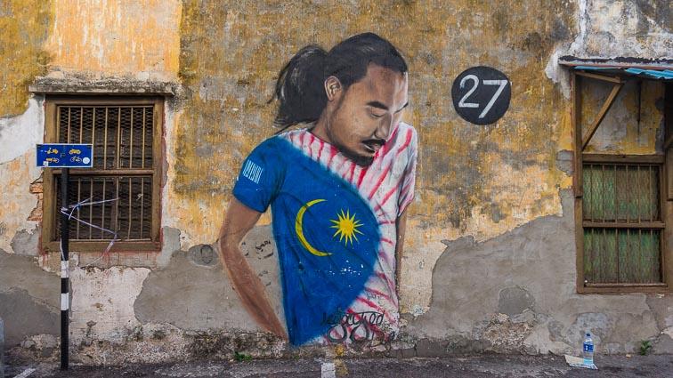 Malaysian football player street art