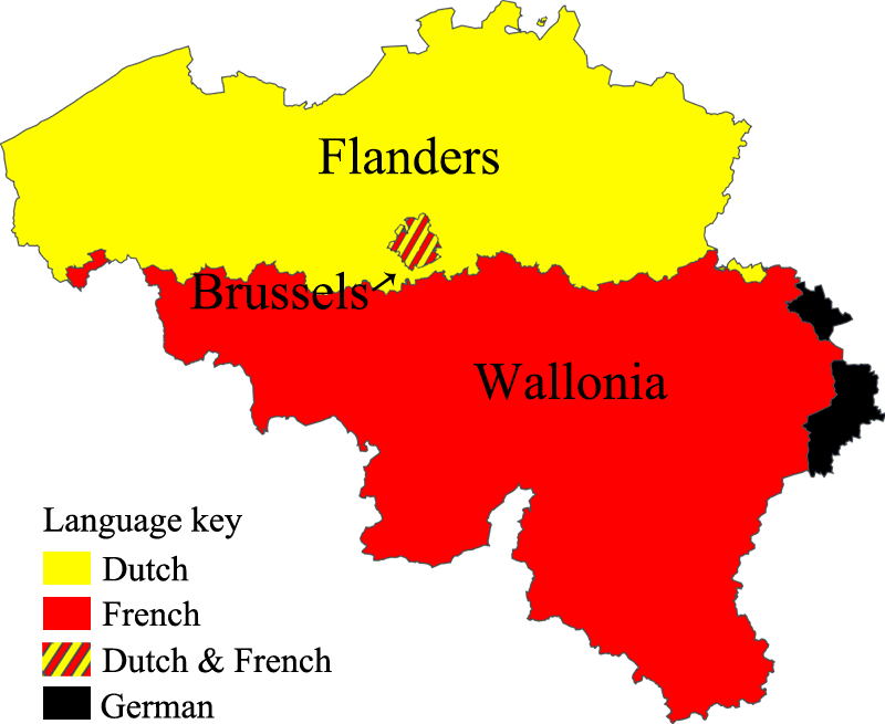 map of Belgium divided by its language communities
