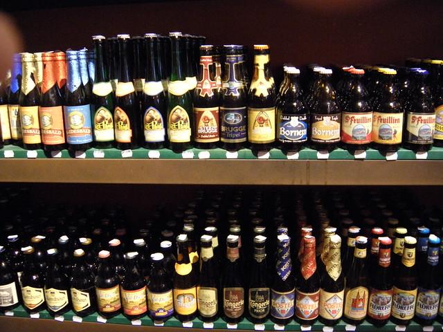two shelves of beer bottles