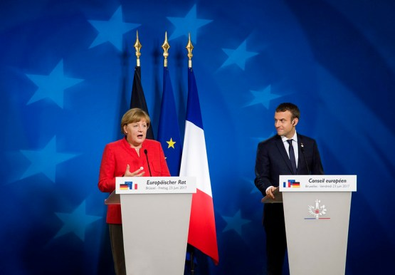 Merkel and Macron at European Council Summit