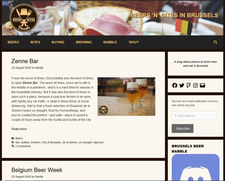 Beer n Bites in Brussels homepage