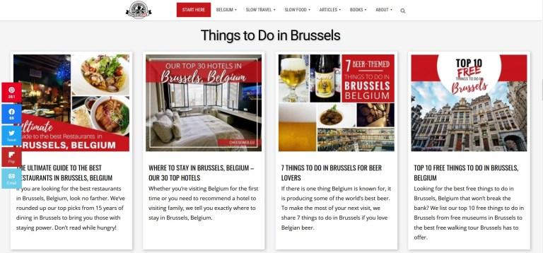 homepage of Cheese Web blog