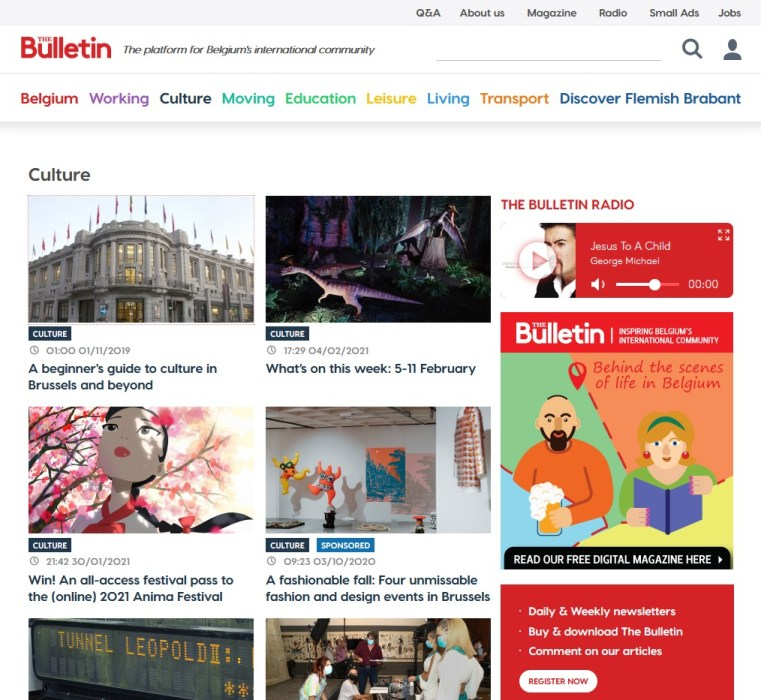 culture section at The Bulletin