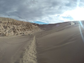 The climb to the top of the sand dune