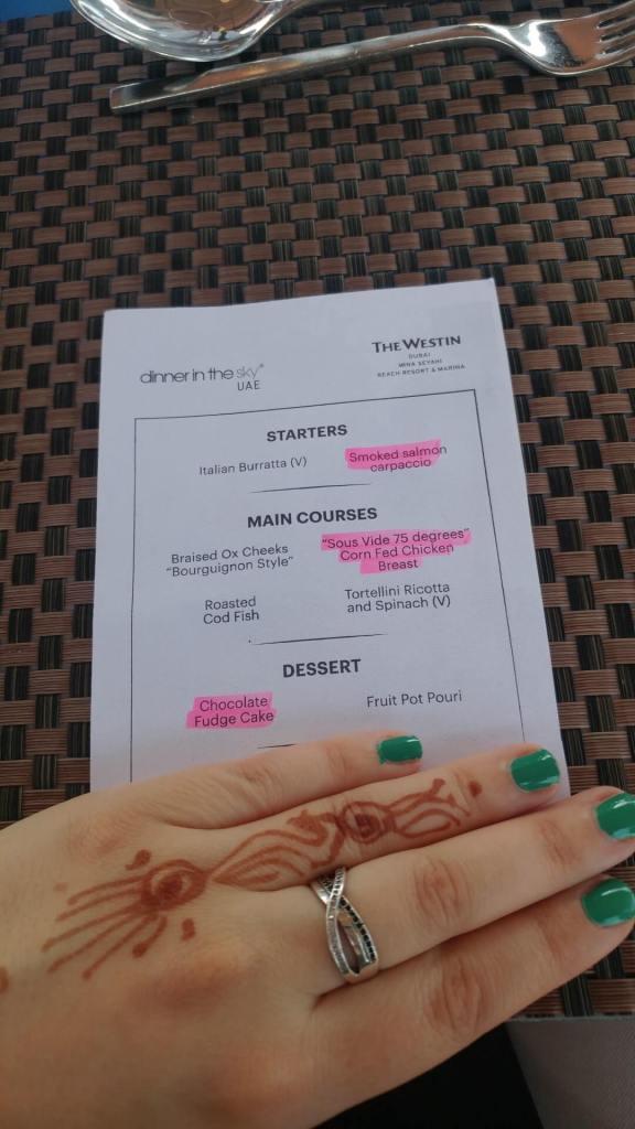 menu, Dinner in the Sky, Dubai, food