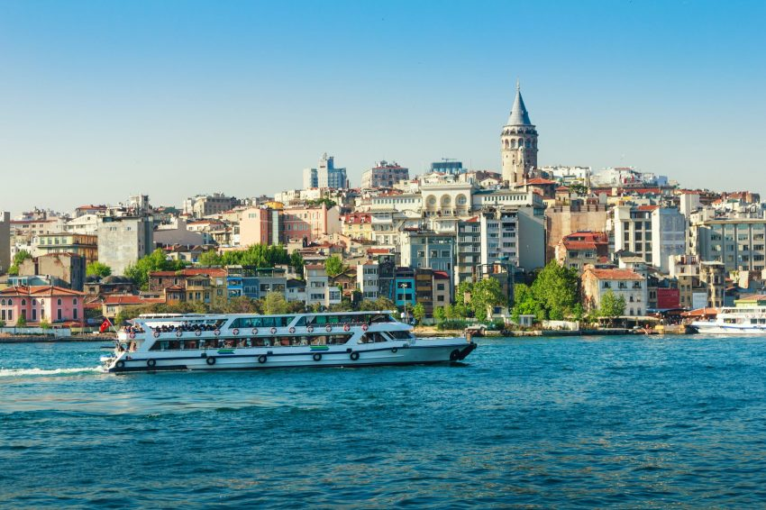 View of  Galata Tower from the Bosphorus. Istanbul. Turkey.
