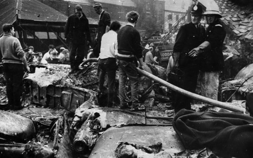 The wreckage of the Stockport Air Disaster