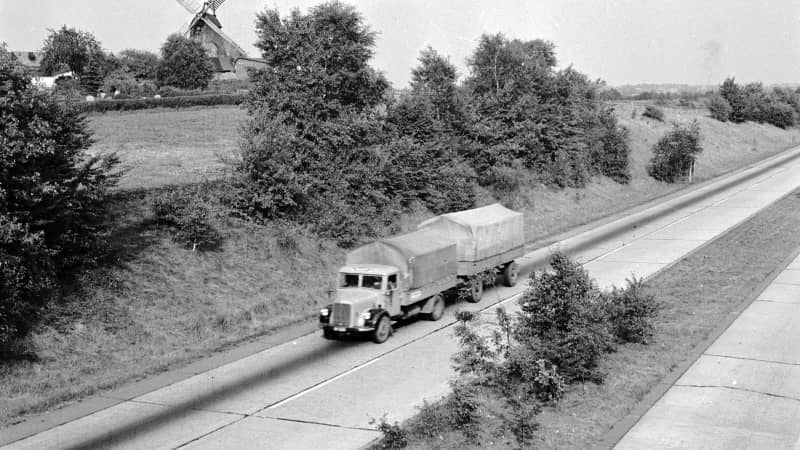 Under a divided country, West and East Germany developed the Autobahn separately (pictured: Hittfeld in Bremen, Hamburg.)