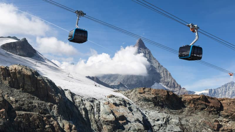 A new ropeway with a view of the Matterhorn mountain had opened in September 2018 after three summers of construction work.