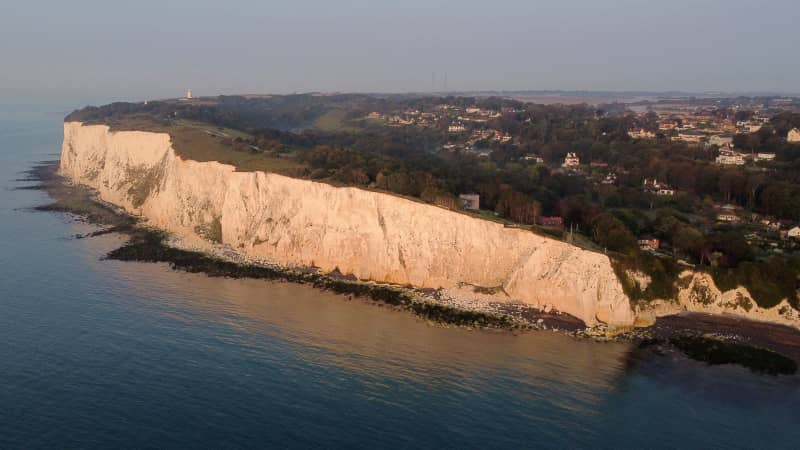 The White Cliffs of Dover in Kent, southeastern England -- one of the UK's most famous landmarks.
