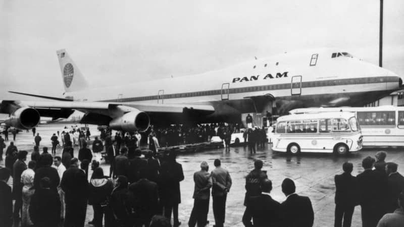 Jocelyne fondly recalls working on the first Boeing 747 flight between Paris and New York. Here, a Boeing 747 is seen just after landing at London's Heathrow airport, on January 22, 1970.