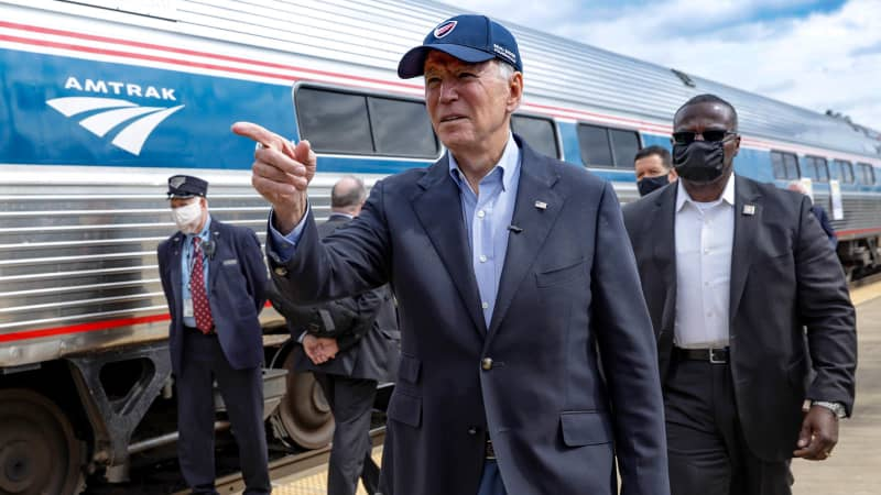 """Amtrak Joe"" Biden has expressed his faith in America's railroads."