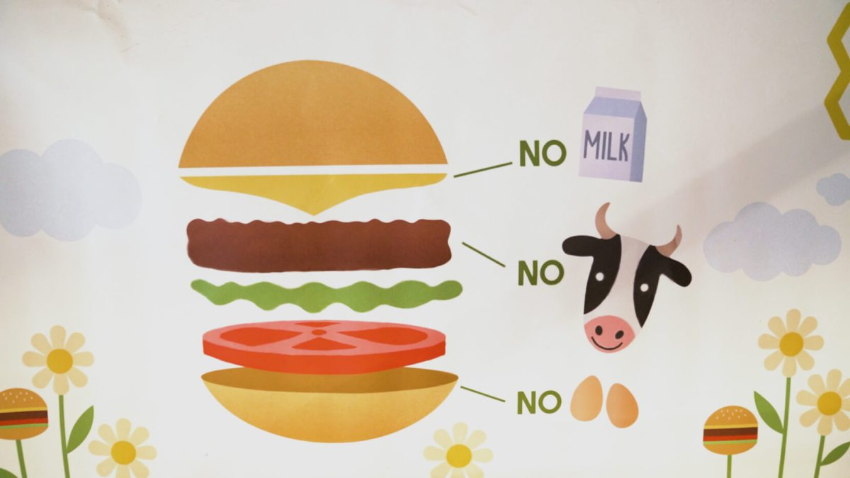 illustration of a plant based cheeseburger
