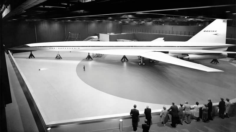 Picture taken in 1969 showing the full-scale mockup of the Boeing 2027 SST, the first American supersonic transport (SST) project, in the Boeing Developmental Center in Seattle. The Boeing 2707 was supposed to be America's answer to the Concorde. In March 1971, despite the project's strong support by the administration of President Richard Nixon, the U.S. Senate rejected further funding and the SST project was canceled on May 20, 1971. / AFP / - (Photo credit should read -/AFP/Getty Images)