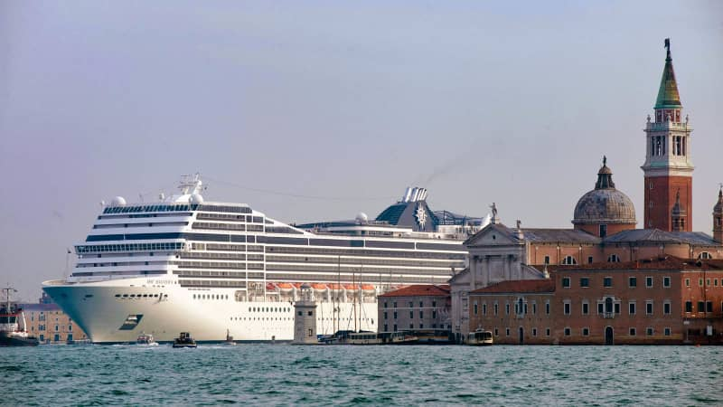 The MSC Magnifica cruise liner ship passes near St Mark's Square in Venice's basin on January 23, 2011.