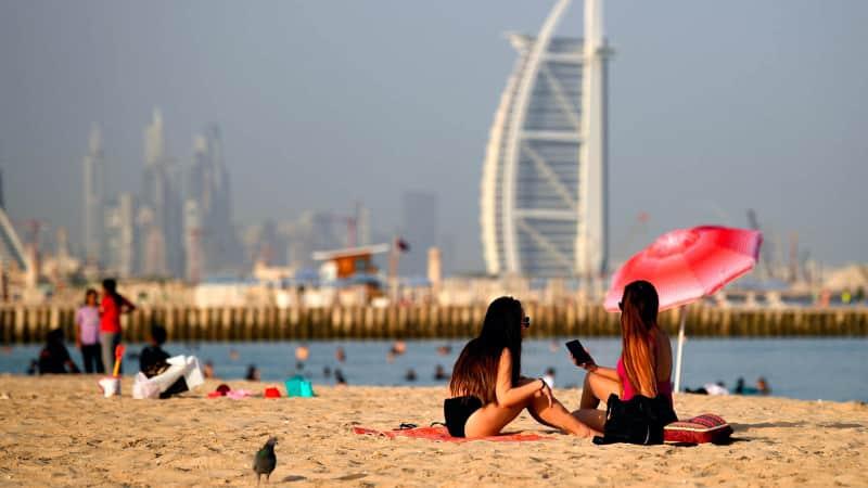 Dubai sunbathers pictured in July 2020.