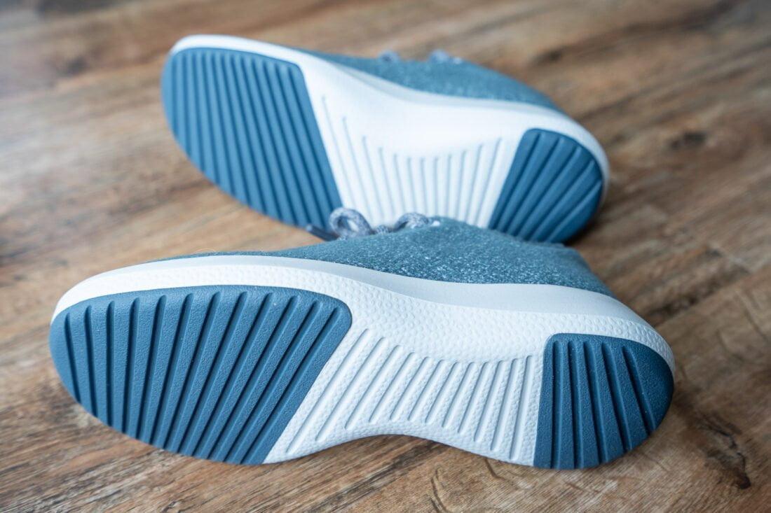 Traction on the soles of the waterproof Allbirds Wool Runner Mizzle