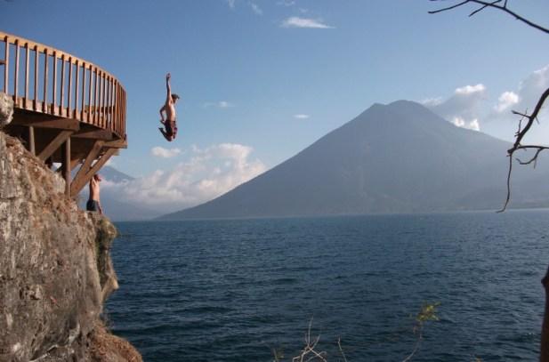 Cliff jumping to Lake Atitlan Guatemala