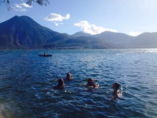 Swimming in Lake Atitlan Guatemala