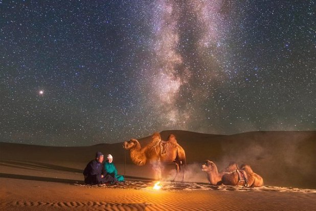 night camping in Gobi desert